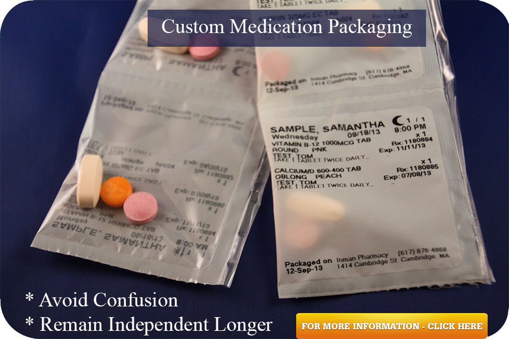 Custom packaged medications